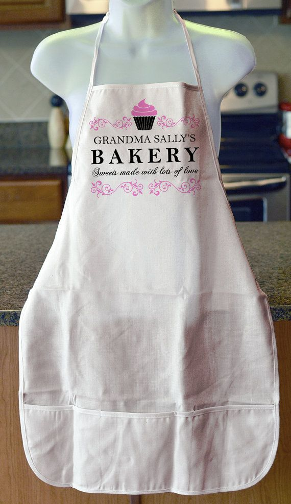 Grandma's Bakery Cupcake Apron can be personalized with any name Mother's day gift for mom grandma sister auntie baking apron accessory