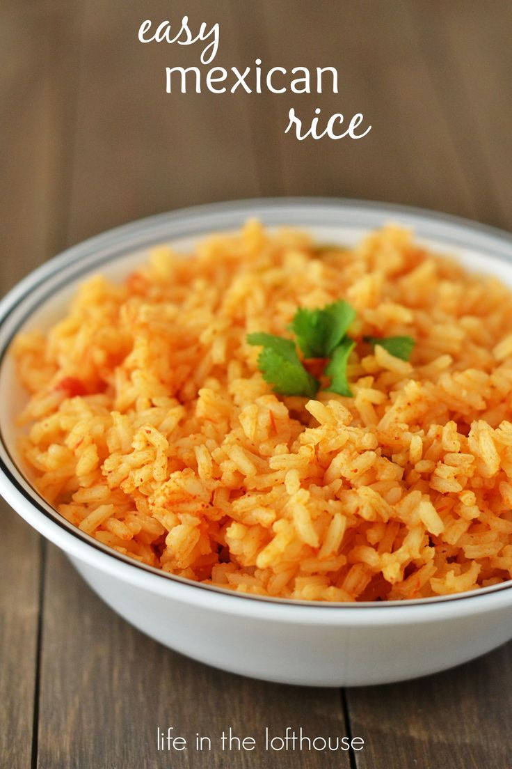 Easy Mexican Rice -- perfect for your Mexican-inspired meals. Uncooked white rice, chicken broth, butter, salsa, garlic salt, and cumin... that's it !