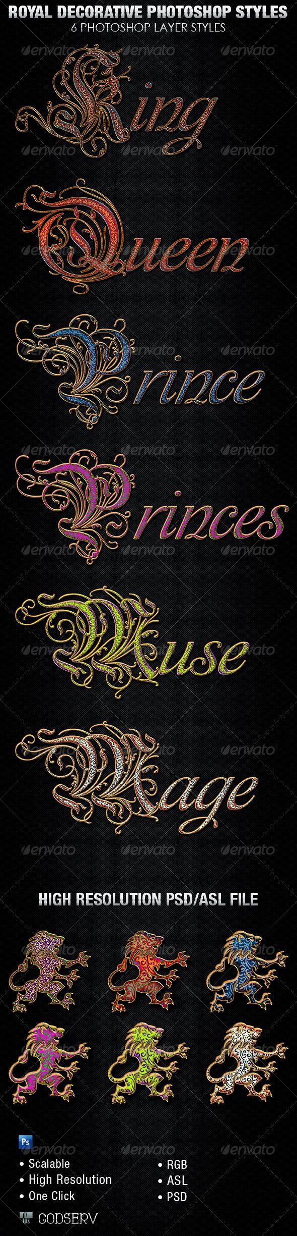Royal Decorative Photoshop Layer Styles -$6.00