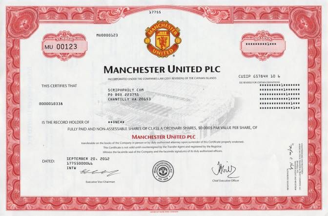MANCHESTER UNITED, Ordinary share Certificate 2004 \/ Quelle ebay - company share certificates