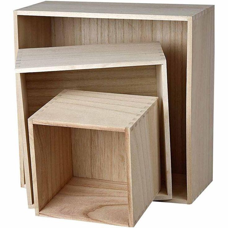 Boîtes de rangement en bois, plus grand format 28x28x12,5 cm, paulownia, carré, 3 assortis 7,56e