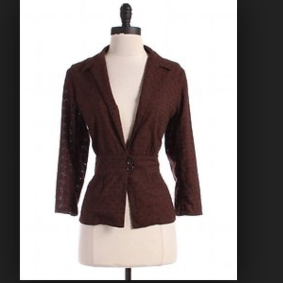 """Max Studio brown eyelet jacket This is a beautiful chocolate brown eyelet cropped jacket. 3/4 sleeve. 100% cotton. 2 button closure at waist.  Chest: 18"""", length: 20.5"""" non smoking home. Like new- No rips, tears, snags, holes, stains.... Max Studio Jackets & Coats"""