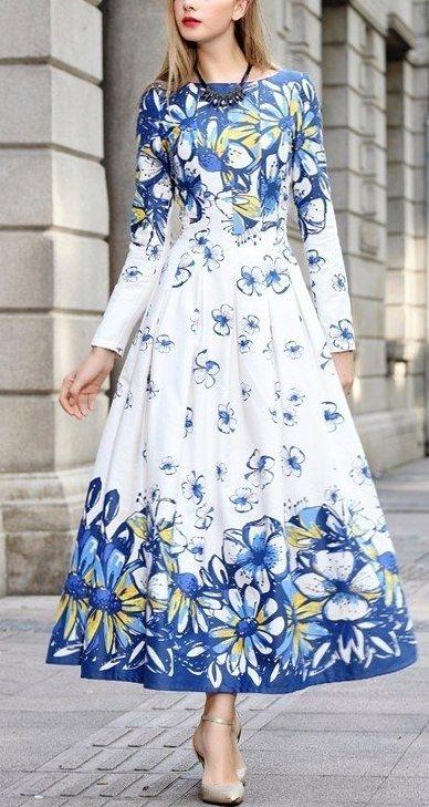 Женственные платья макси с цветочным принтом 4