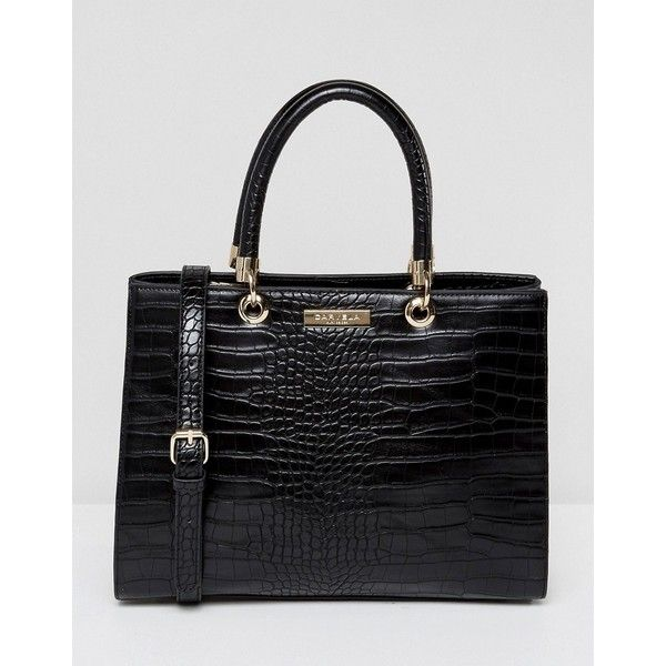 Carvela Darla Mock Croc Structured Tote Bag ($80) ❤ liked on Polyvore featuring bags, handbags, tote bags, black, faux leather handbags, leather purses, genuine leather tote, leather tote purse and leather tote