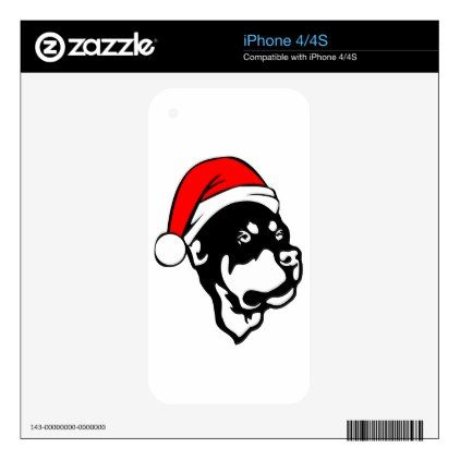#Rottweiler Dog wearing Red Christmas Santa Hat Decals For The iPhone 4S - #rottweiler #puppy #rottweilers #dog #dogs #pet #pets #cute