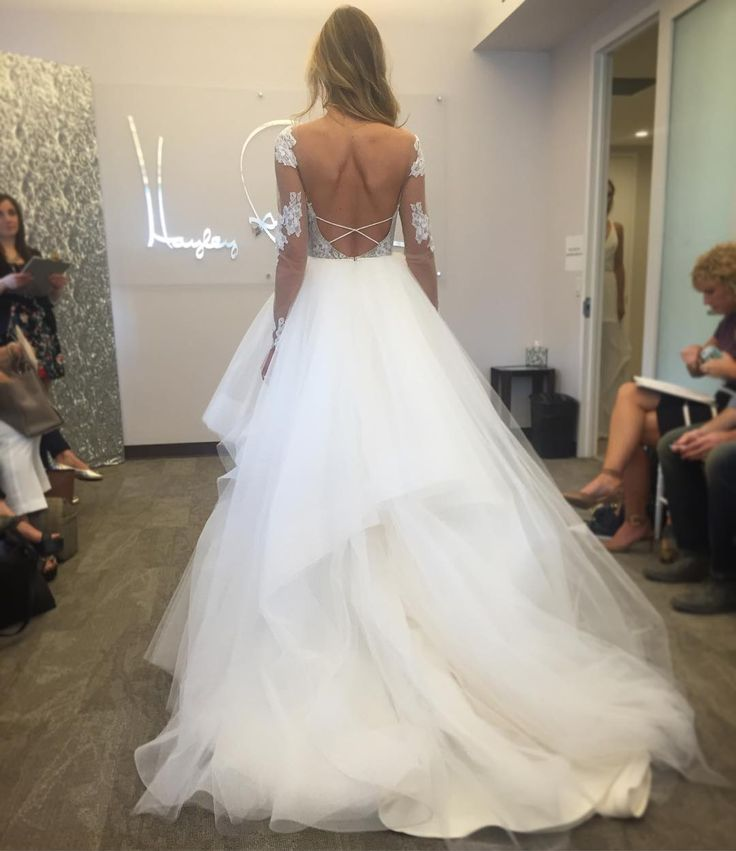 Popular New York Bridal Fashion Week Show fall new collection wedding dress designer bridal gown catwalk runway back sleeves tulle hayley paige