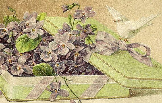 Romantic Vintage Valentine Postcard Box of by TheOldBarnDoor