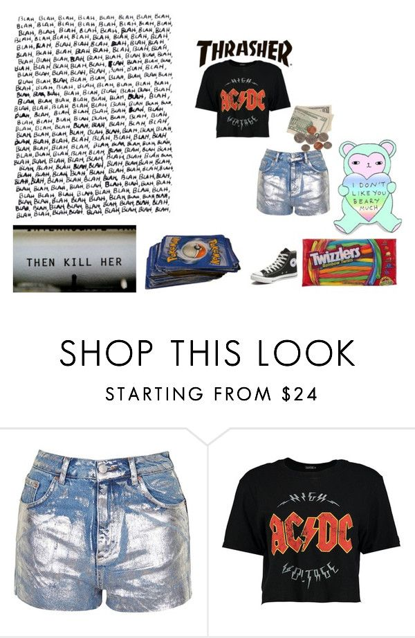 """I'm Just A Teenage Dirtbag, Baby"" by just-another-dweeb ❤ liked on Polyvore featuring Topshop, Boohoo, Converse, school, fun, teen and Punk"