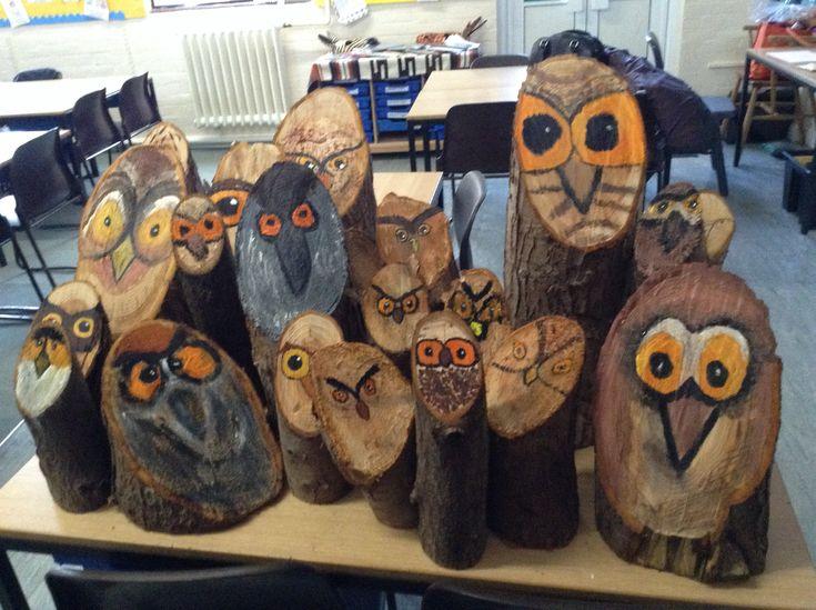 KS2 art club stump owls. L Steele