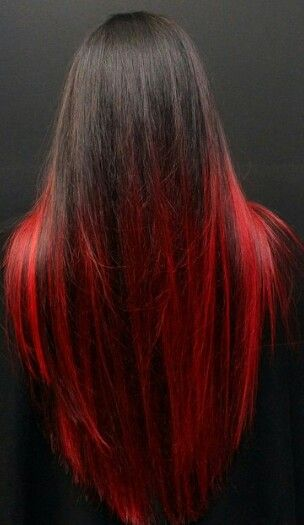 Red ombre dyed hair http://www.latesthair.com/  what it it was black at top and fade to red like this