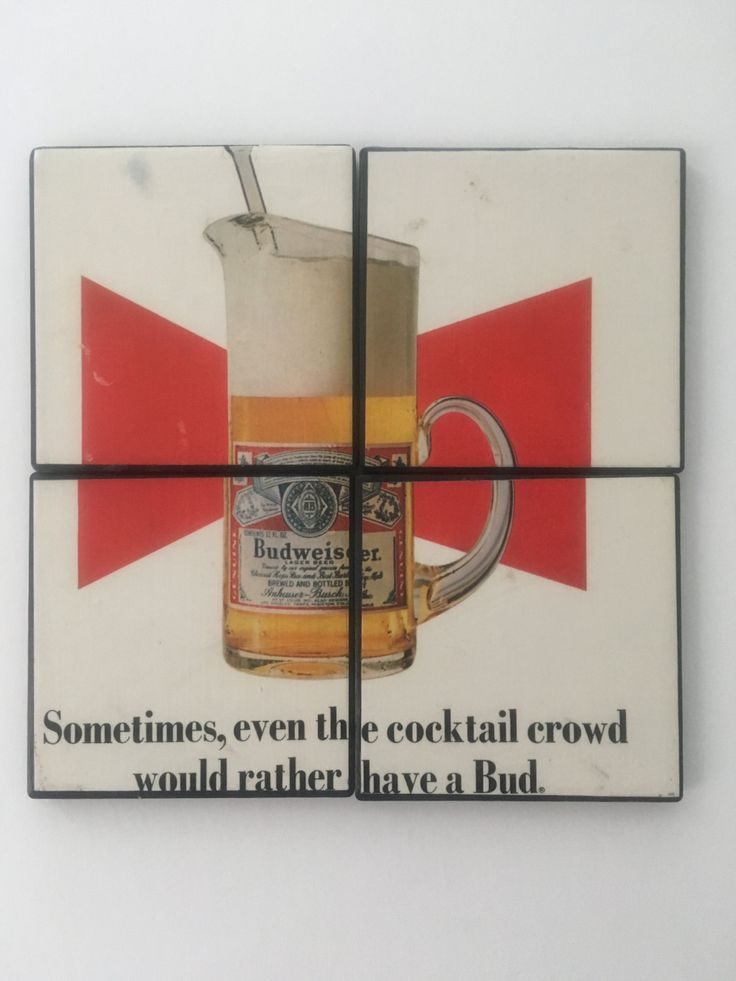 Set of 4 Ceramic Hot and Cold Drink Beverage Coasters with Felt Backing featuring classic VINTAGE BUDWEISER BEER Ad, Playboy Magazine 1969 by UpcyclingIt on Etsy