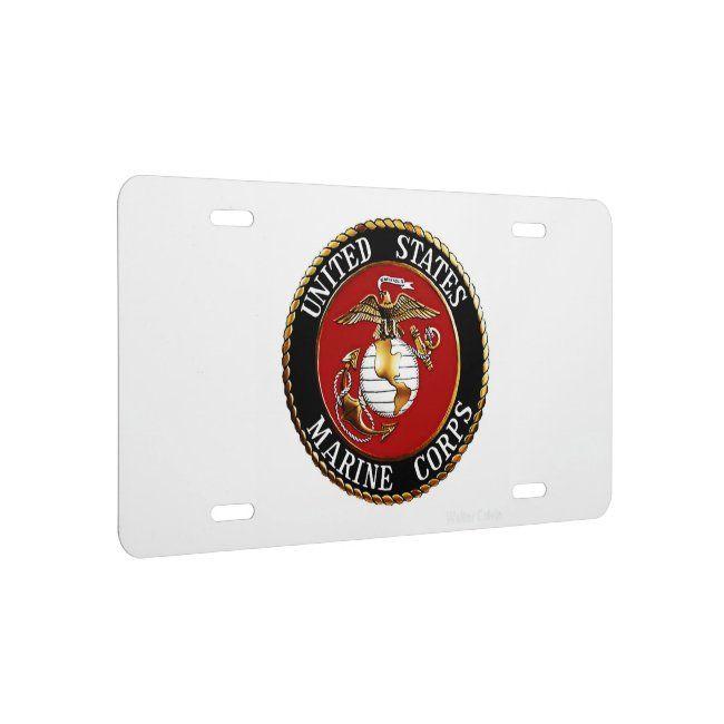 License Plate U S M C Zazzle Com In 2020 License Plate Usmc Marines Logo