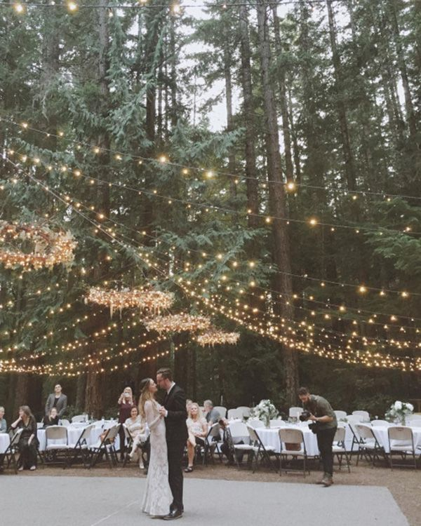 Forest Wedding   Canopy of Twinkle Lights and Chandeliers