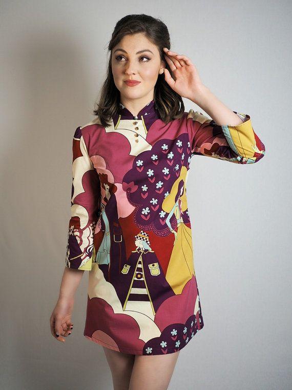 60s afdrukken mod jurk van VioletHouseClothing op Etsy