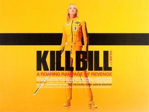 """Kill Bill Volume 1 Quad, 2003 - original vintage movie poster for the American cult martial arts film""""Kill Bill Volume 1 directed by Quentin Tarantino and starring Uma Thurman in the lead role with Lucy Liu, Vivia A. Fox, Michael Madsen, Daryl Hannah, David Carradine, Gordon Liu and Michael Parks listed on AntikBar.co.uk"""