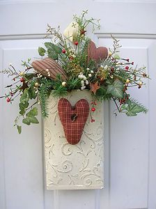 Winter Valentine's Day Hearts Door Basket Floral Arrangement Wreaths | eBay