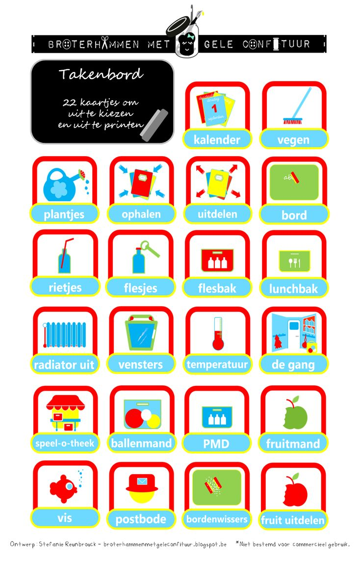 Gratis printable: Takenbord kaartjes klas downloaden bij Broterhammen met Gele Confituur http://broterhammenmetgeleconfituur.blogspot.be/2015/08/voor-de-juffen-en-meesters.html