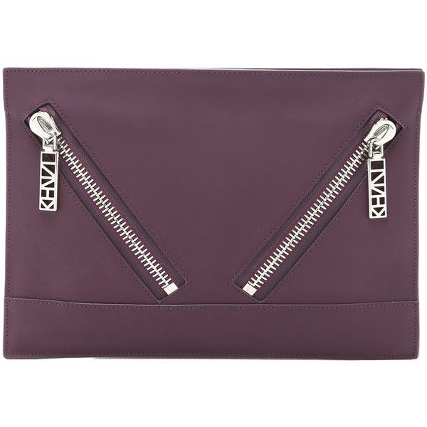 KENZO Kalifornia Clutch ($325) ❤ liked on Polyvore featuring bags, handbags, clutches, prune, purple leather purse, leather clutches, kenzo handbags, 100 leather handbags and purple purse