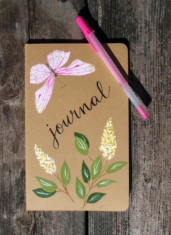 Hand Painted Journal Field Notebook  Pink by KelliMcNicholsArt