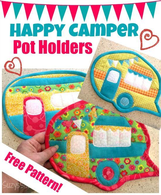 Happy Camper Pot Holders free pattern!