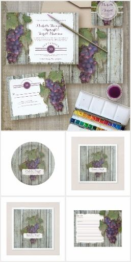 Wine | Rustic Vineyard Grapes Collection. Modern rustic vineyard style wedding invitation set that is perfect for wine lovers, winery locations or vineyard businesses to use for various events. #ad