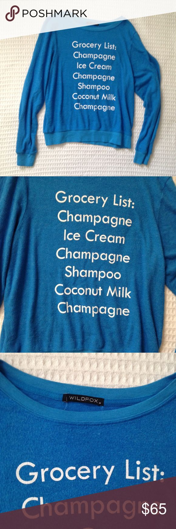 NWOT Wildfox grocery list blue jumper size medium Wildfox super soft blue long sleeve Grocery List pullover sweatshirt. New without tags. No trades, offers welcome. Wildfox Tops