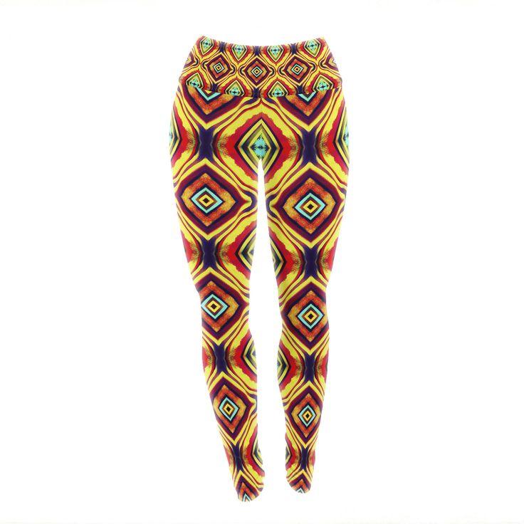 "Anne LaBrie ""Diamond Light"" Yellow Red Yoga Leggings from KESS InHouse"