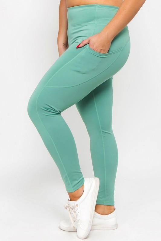 2443ff77dea5c Athletic Leggings with Side Pocket in Dusty Jade - Curvy. Find this Pin and  more on Products by Kasey Leigh Boutique.