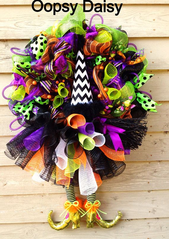 sale witch wreath halloween decoration by oopsydaisydesigns 10000