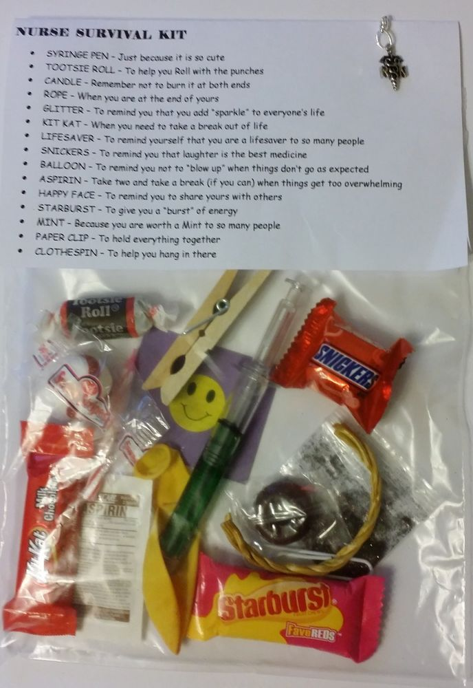 NURSE SURVIVAL KIT ~ 15 items inside & Silver Dangle RN CHARM Medical Funny #AnytimeEveryOccasion