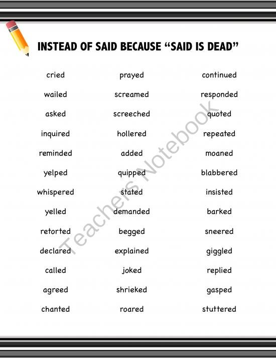 """Synonyms for Said: Writing Resource FREEBIE from Positively Passionate About Teaching on TeachersNotebook.com (2 pages)  - FREE """"Said is Dead"""" resource for your students' binders, notebooks or folders. Stop using """"SAID"""" and replace with other great vivid verbs."""