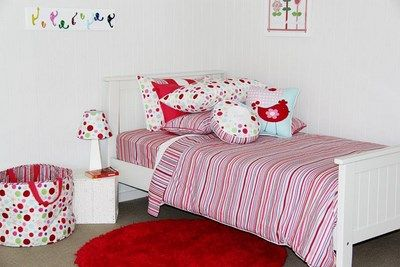 Stripes are a great way to add a zap of colour in your girls room, such as with this Patersonrose Lucy Stripe duvet cover.patersonrose #kidsbedding #girlsbedlinen #girlsbedroomdecor #girlsduvet #kidsinteriors #childrensrooms