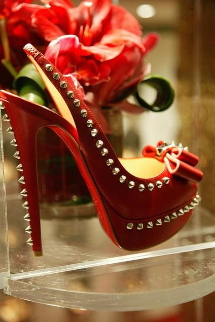 christian louboutin 'lady clou' in red with silver studs. #shoeporn