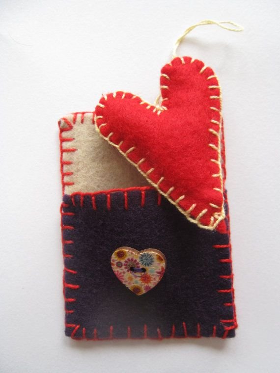 Felted, hand stitched original aceo with a little heart in pocket