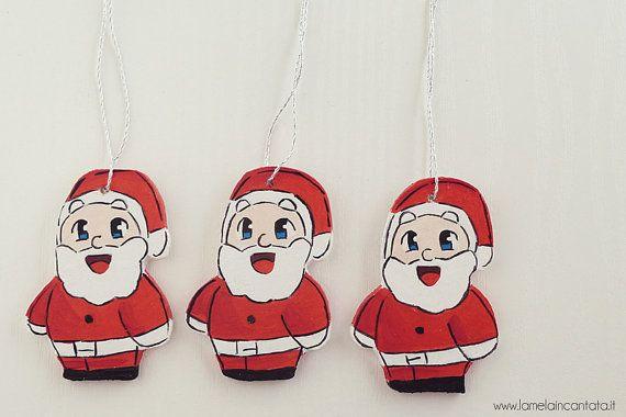 Decorazione+Babbo+Natale+in+Legno+per+l'albero++by+lamelaincantata,+€9.00