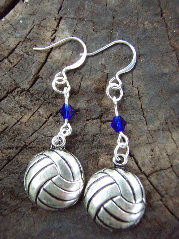 Volleyball earrings with cobalt blue swarovski by BonnysAngels, $7.00