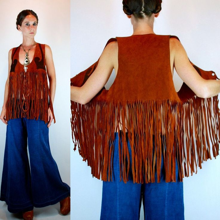 Vintage 60s Bohemian Suede Genuine Leather Top / vest w/ Extra Long Fringe. Southwestern Duotone Brown Hippie boho Festival Poncho Cape. OS by BluegrassVoodoo on Etsy