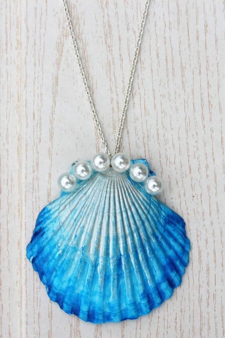 DIY: DIP DYE MUSCHEL-KETTE Eine Muschel farbig  und mit Perlen verzieren