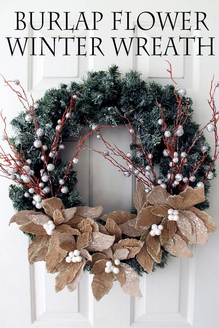 Burlap Flower Wreath Winter Home Decorwinter
