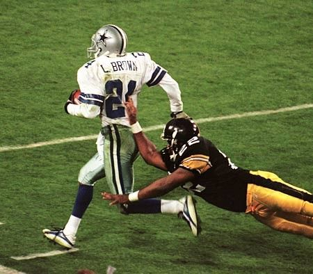Super Bowl XXX | January 28, 1996 – The Dallas Cowboys joined the 49ers as five time Super Bowl winners, beating the Pittsburgh Steelers 27-17 at Sun Devil Stadium in Tempe, Arizona. This is the Steelers only Super Bowl loss in seven visits. Larry Brown of the Cowboys became the first cornerback to win the Super Bowl MVP, intercepting Neil O'Donnell twice, both of them later converted into touchdowns.