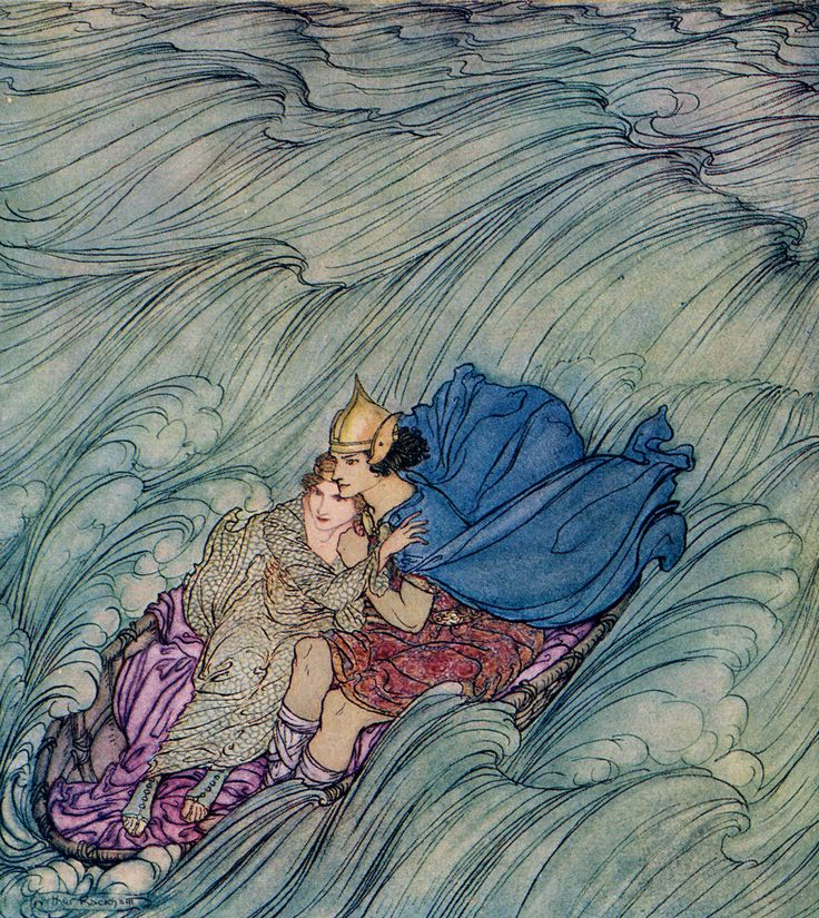 enchantingimagery: The waves of all the worlds seemed to whirl past them in one huge green cataract. An Arthur Rackham illustration for Becuma of the White Skin from Irish Fairy Tales. My scan.