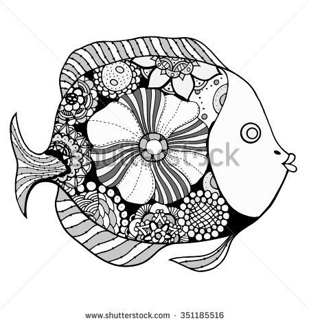 Zentangle Hand Drawn Vector Fish With Floral Elements In Black And White Doodle Style Pattern For Coloring Book Vectores
