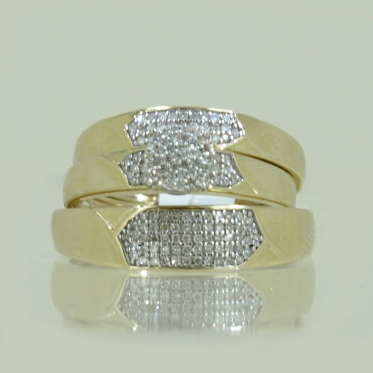 Solid Real 10K Yellow Gold Round Trio Set 0.33CT of Diamonds Micro Pave Setting #Solitaire