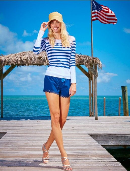 Ladies Zip Swim Shirt UPF50+, Blue Stripe