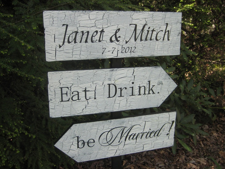 Wedding Directional Signs Shabby Chic Personalized. $59.95, via Etsy.