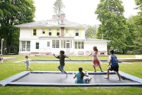 Bury the trampoline: Idea, Sunken Trampolines, Dream House, Outdoor, Ingroundtrampolin, Kids, Backyard, In Ground Trampolines, Inground Trampolines