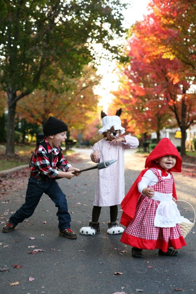 Little red riding hood for the whole crew:  Ray will be the woodsman, I'll be granny, Finn is the big bad wolf and Sweet Meadow is Red