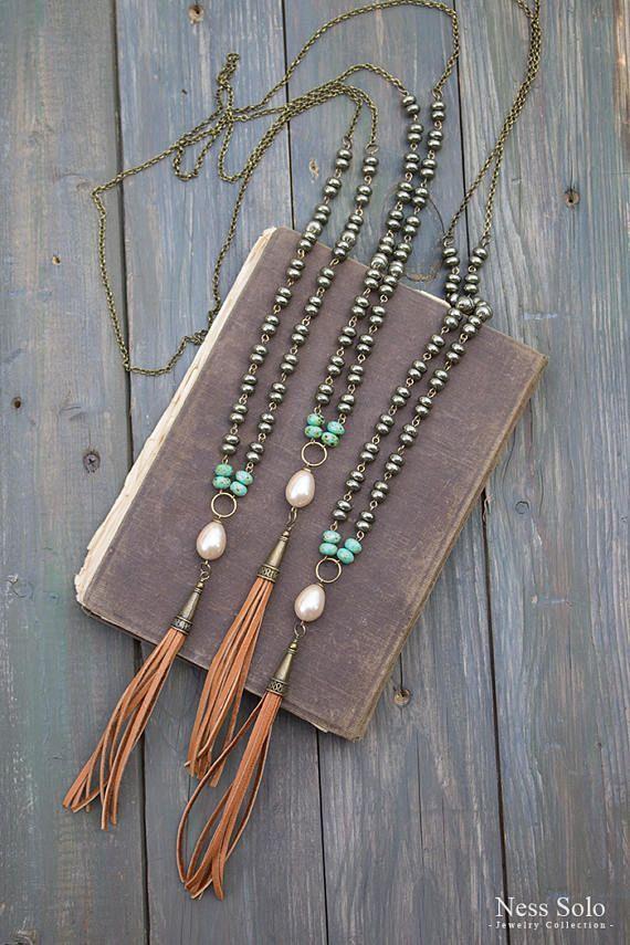Pearl pendant Boho necklace Long pyrite necklace Leather