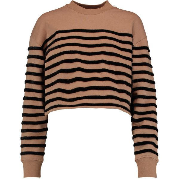 T by Alexander Wang Faux fur-striped cotton sweatshirt (8,885 PHP) ❤ liked on Polyvore featuring tops, hoodies, sweatshirts, neutral, stripe crop top, boxy crop top, loose crop tops, embellished sweatshirt and cropped sweatshirt