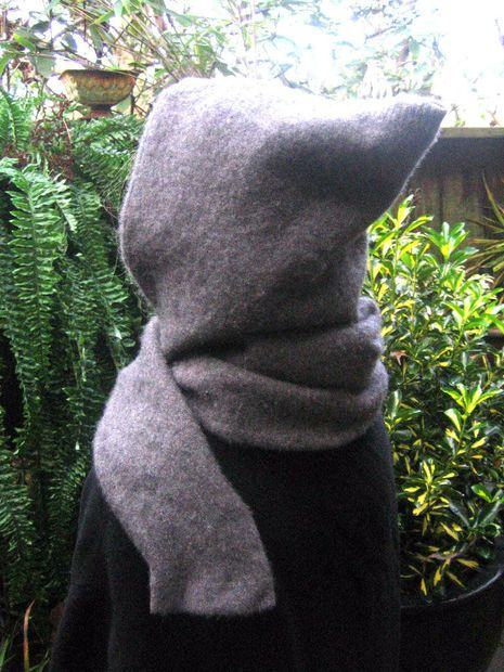 Hooded scarf from old sweater